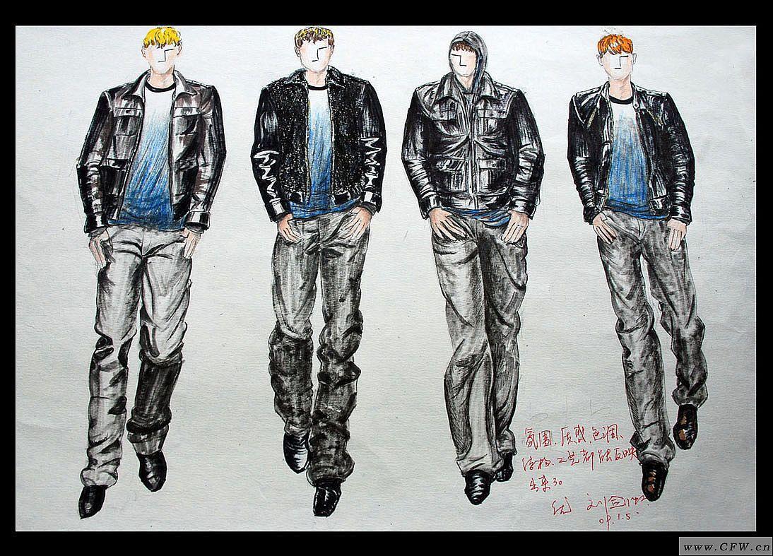 皮夹克男装设计-男装设计-服装设计