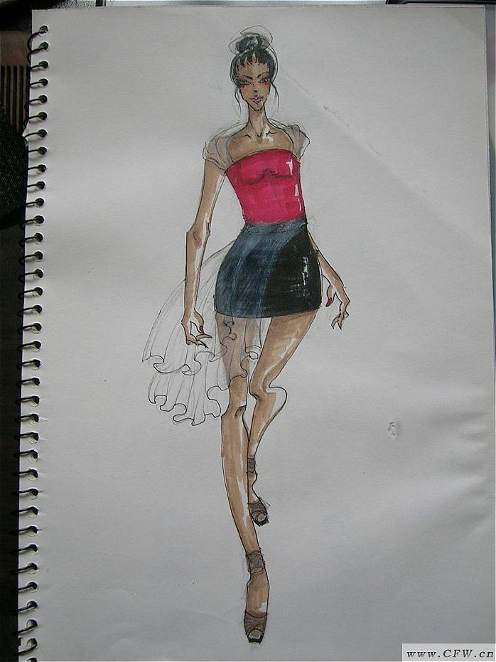 服装 手绘稿作品-服装 手绘稿款式图