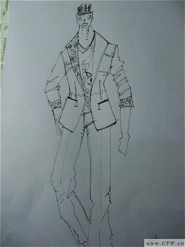 水笔手绘-男装设计-服装设计