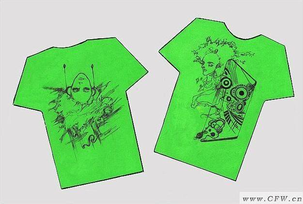 手绘t恤图案-男装设计-服装设计