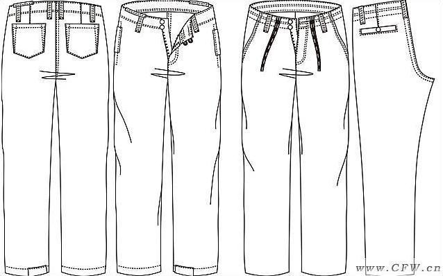 男休闲裤作品-男休闲裤款式图