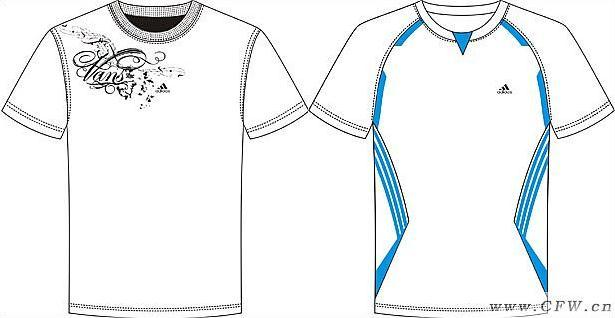 运动圆领t恤-男装设计-服装设计