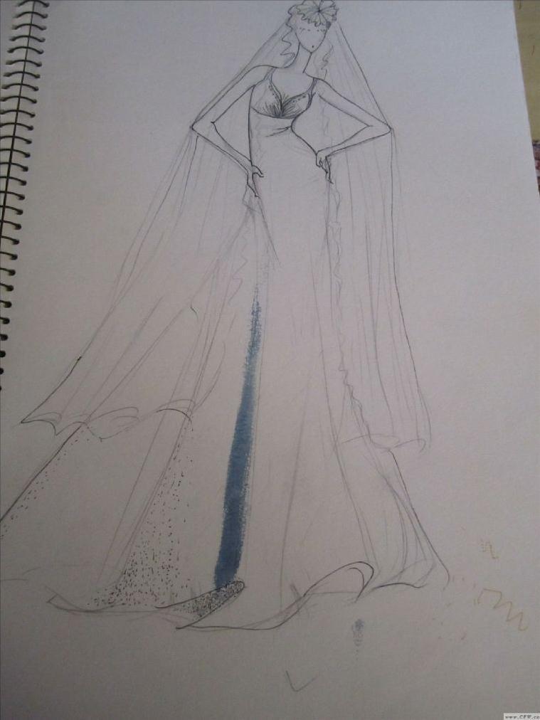 素描婚纱图片大全简单-款式图平时练习图图片