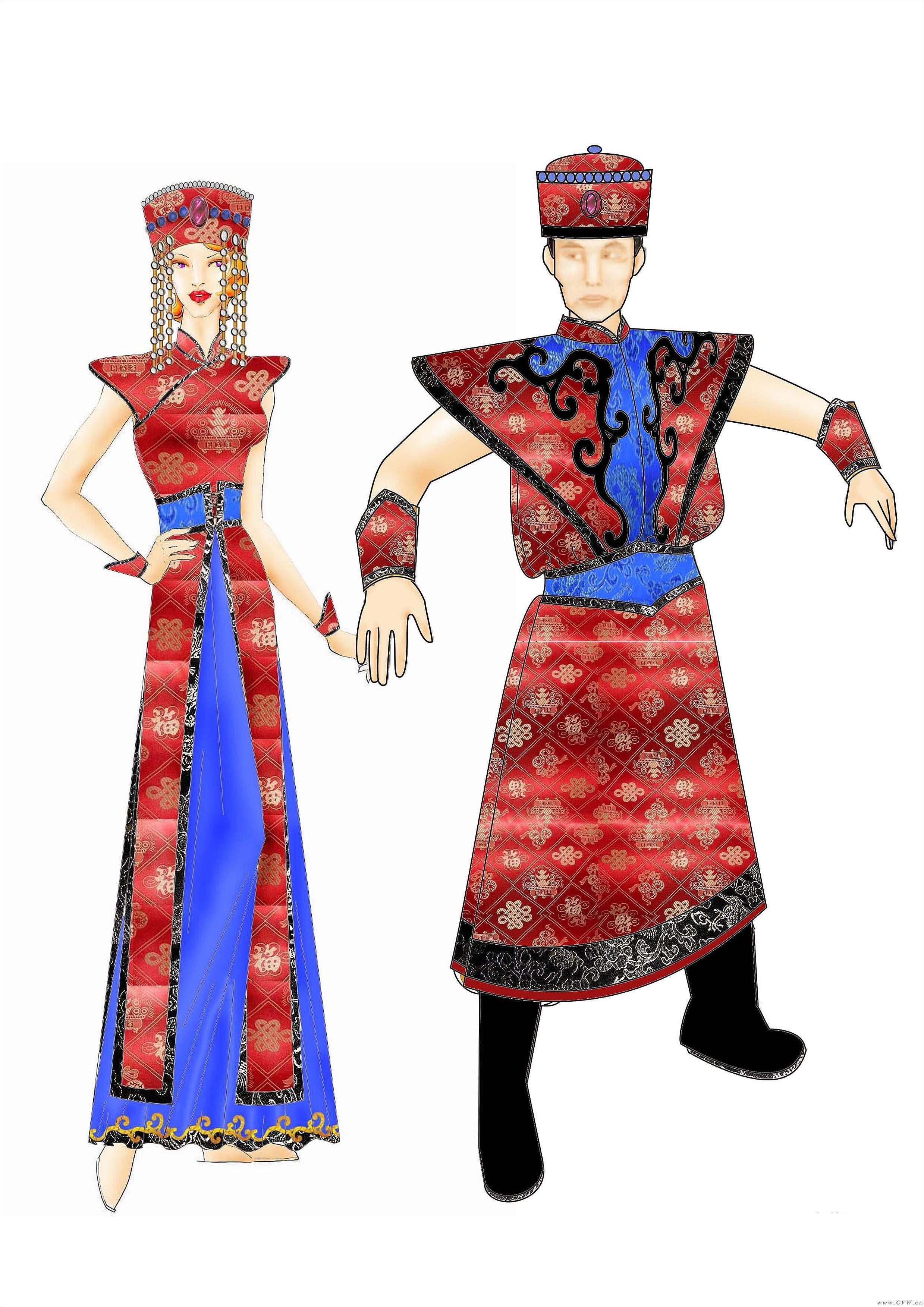 蒙古服2-男装设计-服装设计