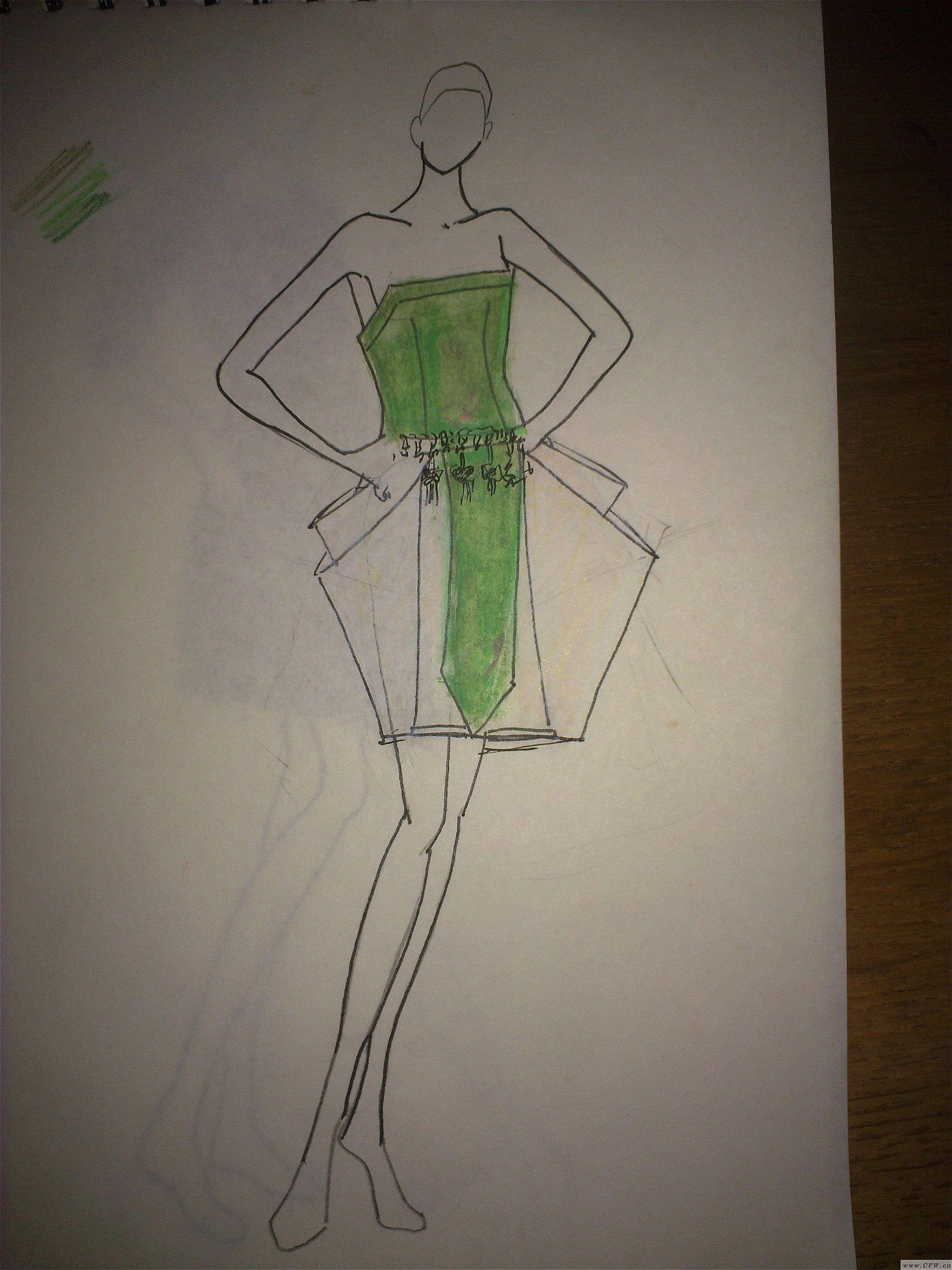 手绘草图 中国风-婚纱礼服设计-服装设计