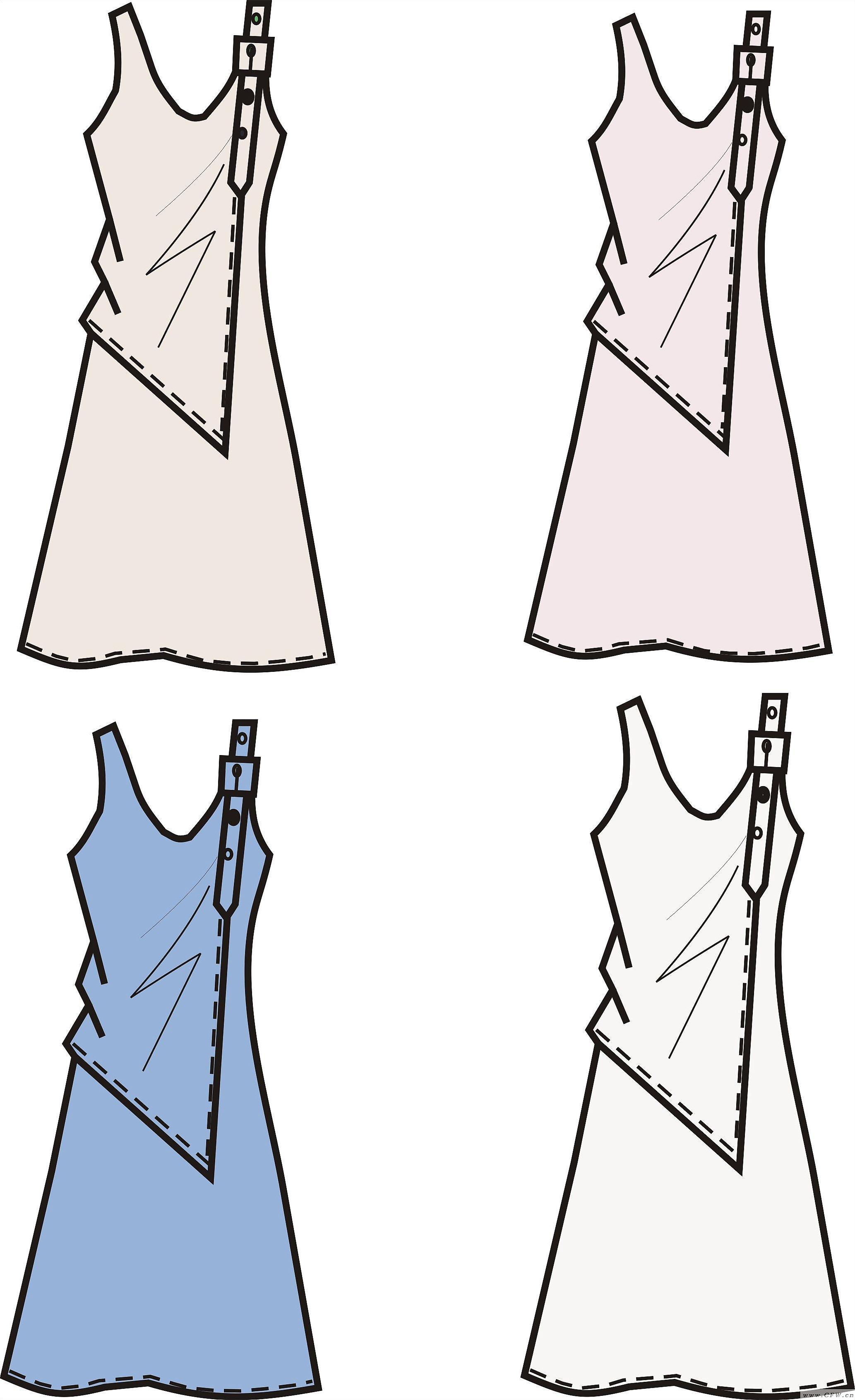 coreldraw女装裙作品-coreldraw女装裙款式图