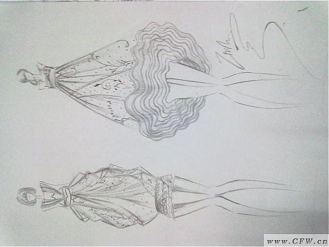 晚礼服手绘图作品-晚礼服手绘图款式图