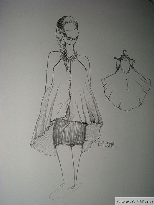 a型斗篷衣陪紧身裙图片