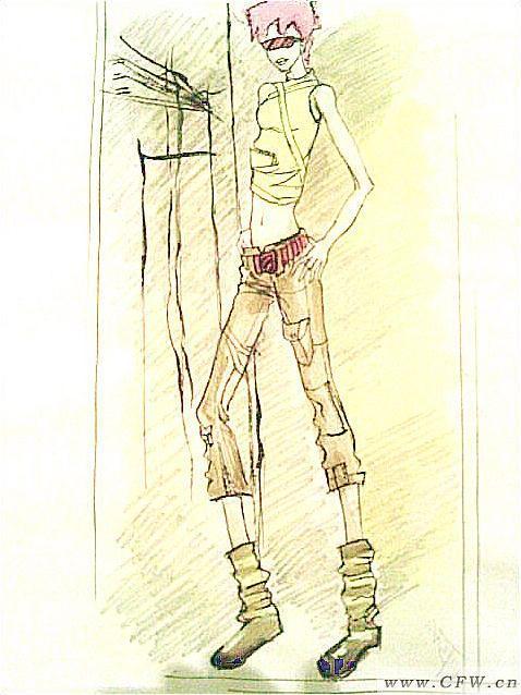 临摹的服装效果图-女装设计-服装设计