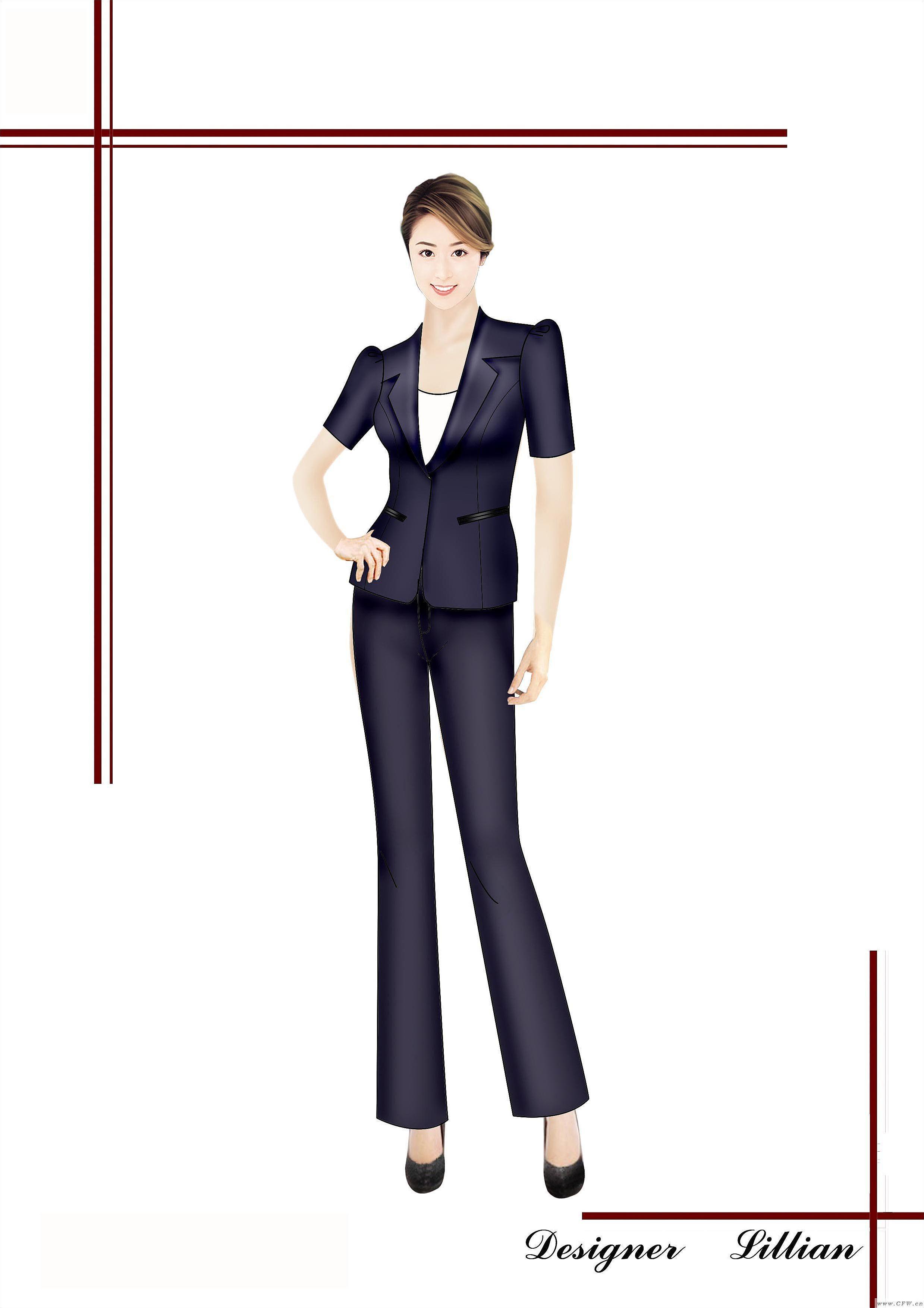 西裝效果圖-女裝設計-服裝設計