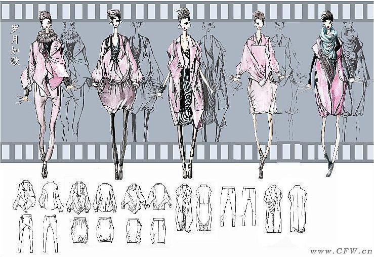 女装设计效果图及款式图-女装设计-服装设计