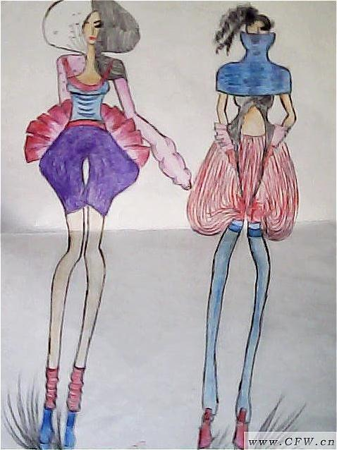 时装画彩铅-女装设计-服装设计