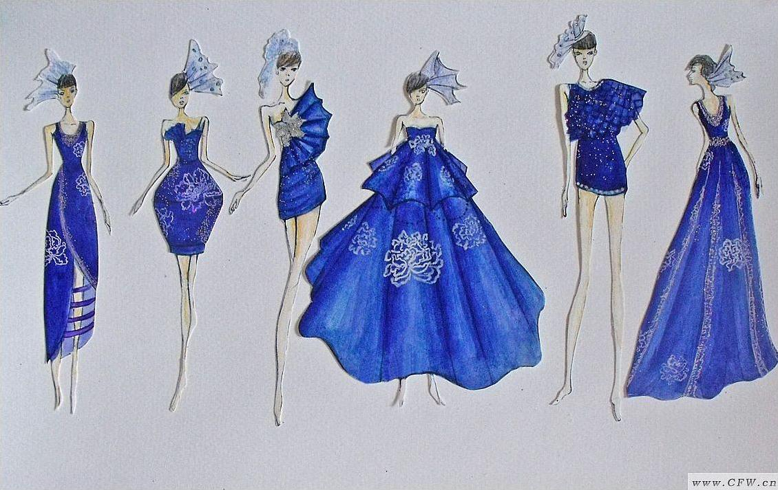 设计师以锦麻,牛仔自然独特味的藏青色作为背景,白色颜料绘出白色图片