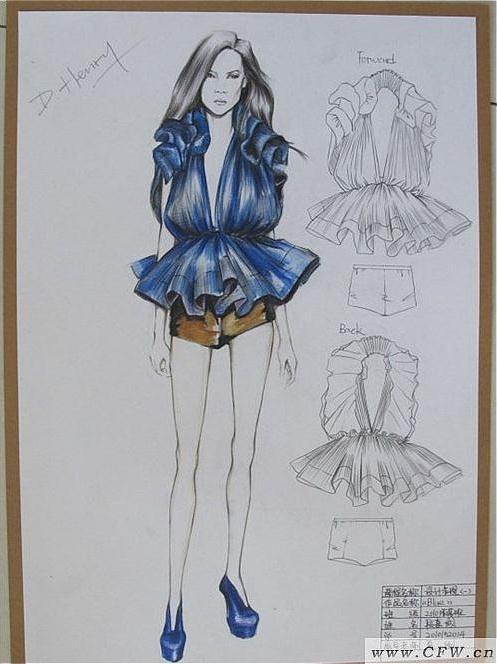 手绘时装效果图-女装设计-服装设计