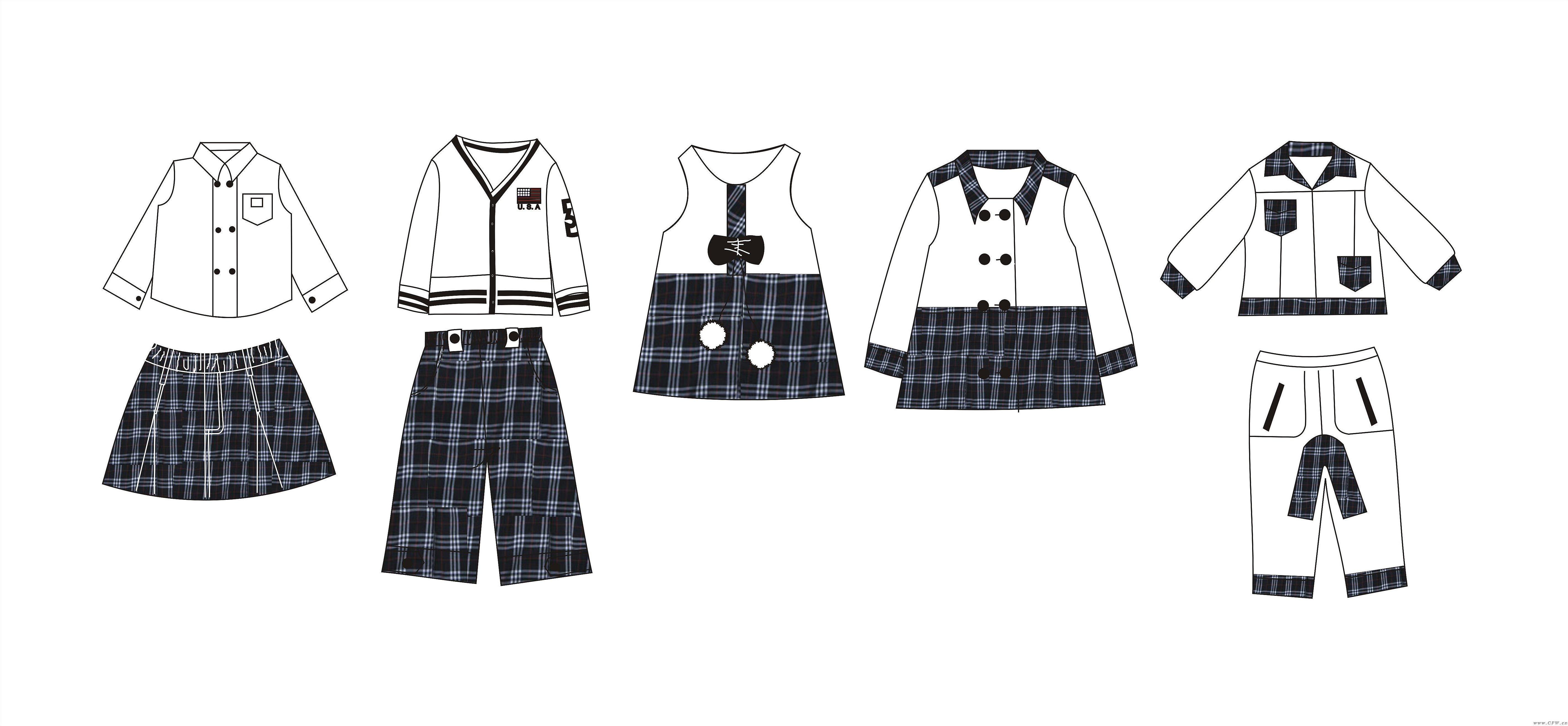 英伦风格经典黑白系列(班服设计校服设计图)