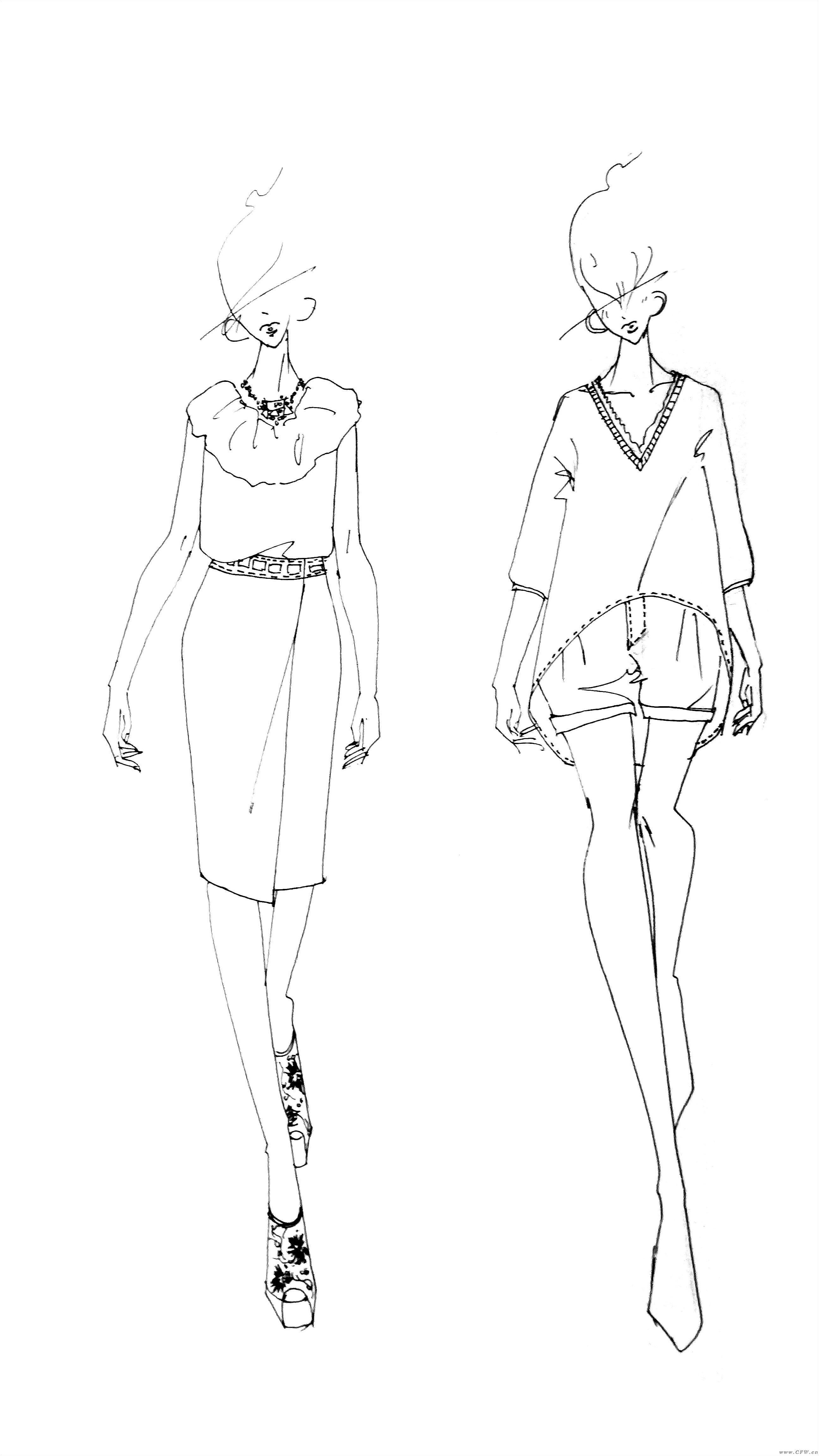 服装手绘图-女装设计-服装设计