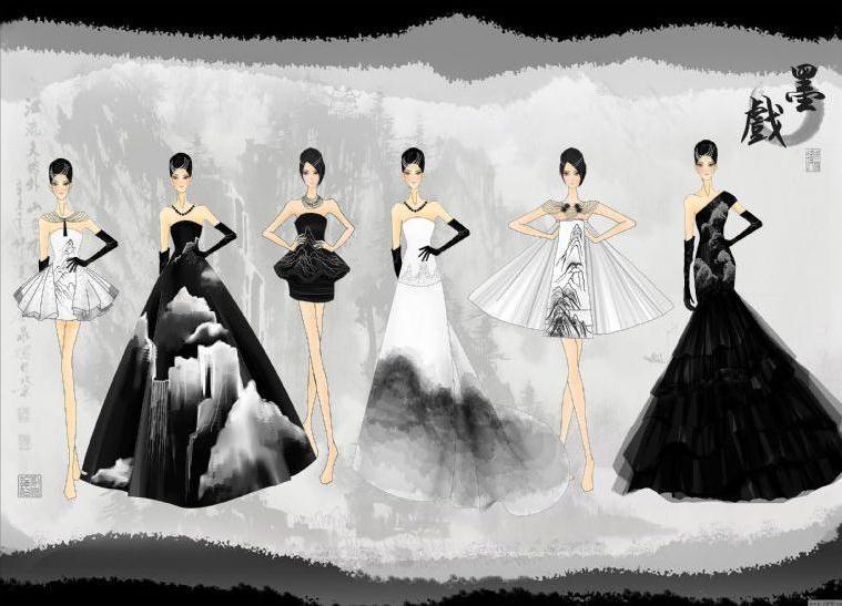 毕设—墨戏-婚纱礼服设计-服装设计