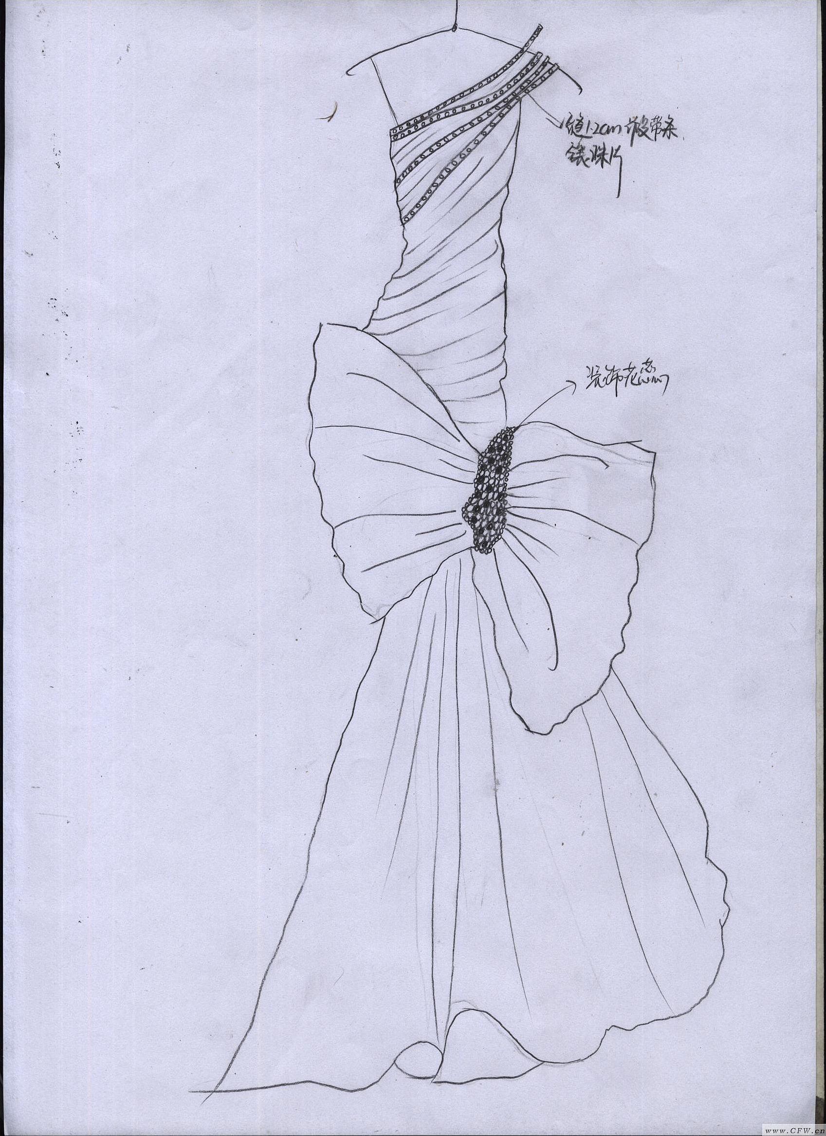 婚纱素描画 画法 步骤