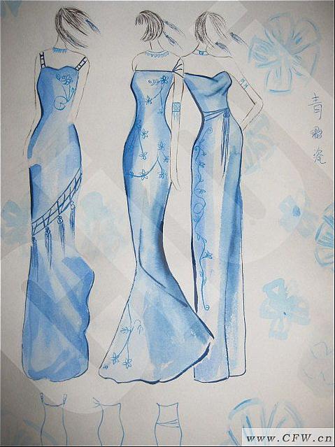 青花瓷-婚纱礼服设计-服装设计
