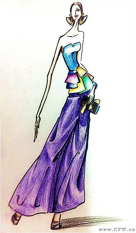 彩铅原创作品-女装设计-服装设计