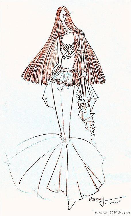 铅笔手绘原创作品-婚纱礼服设计-服装设计
