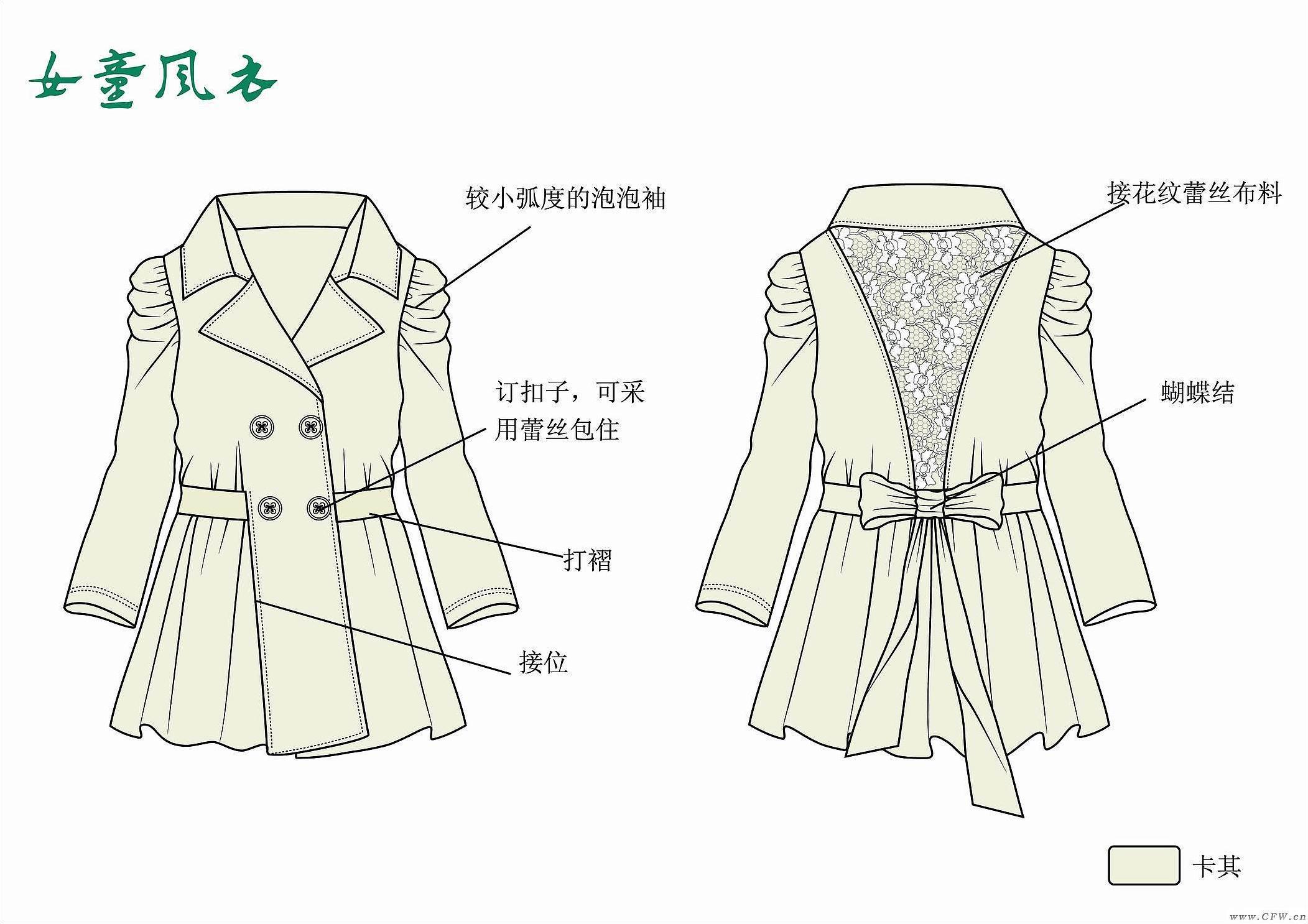 女童风衣-童装设计-服装设计