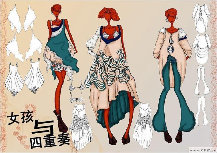 休閑創意女裝設計-大賽作品設計-服裝設計