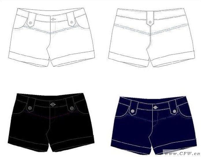 短裤1作品-短裤1款式图