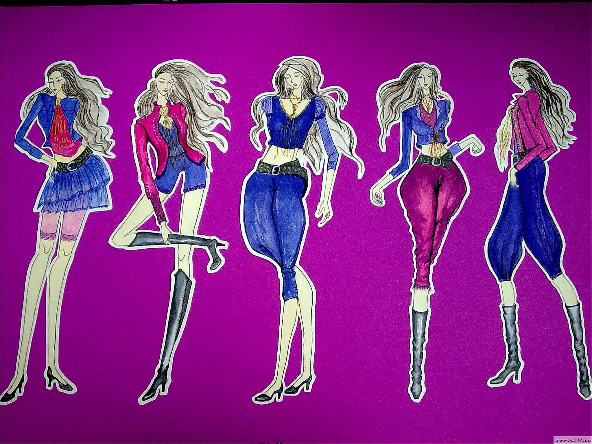 手绘系列效果图-女装设计-服装设计