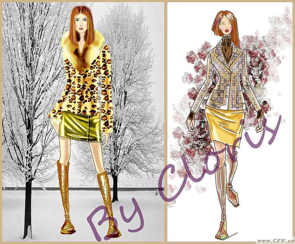 皮草与提花面料套装-女装设计-服装设计