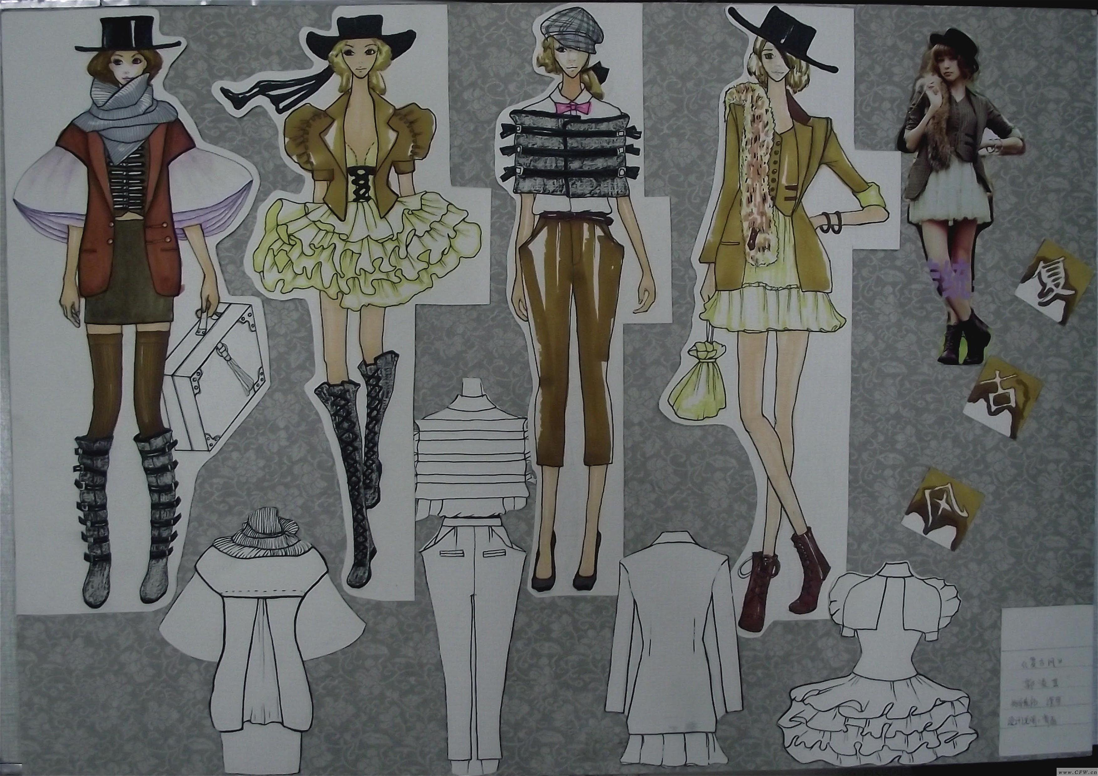 复古元素-女装设计-服装设计