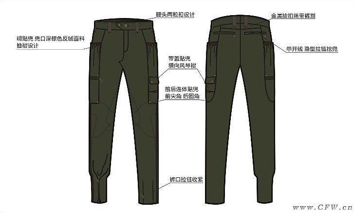 军风女裤作品-军风女裤款式图
