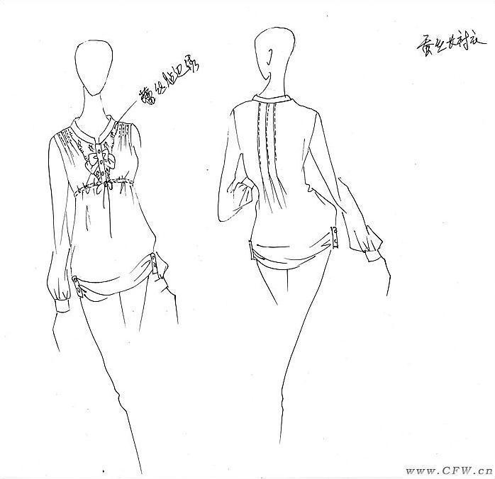 工作中的手绘图-女装设计-服装设计