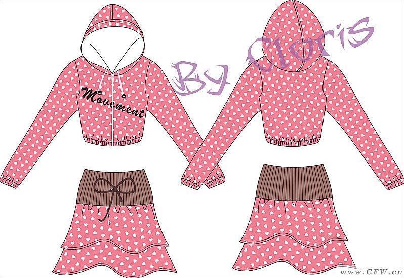 针织运动休闲套装-女装设计-服装设计