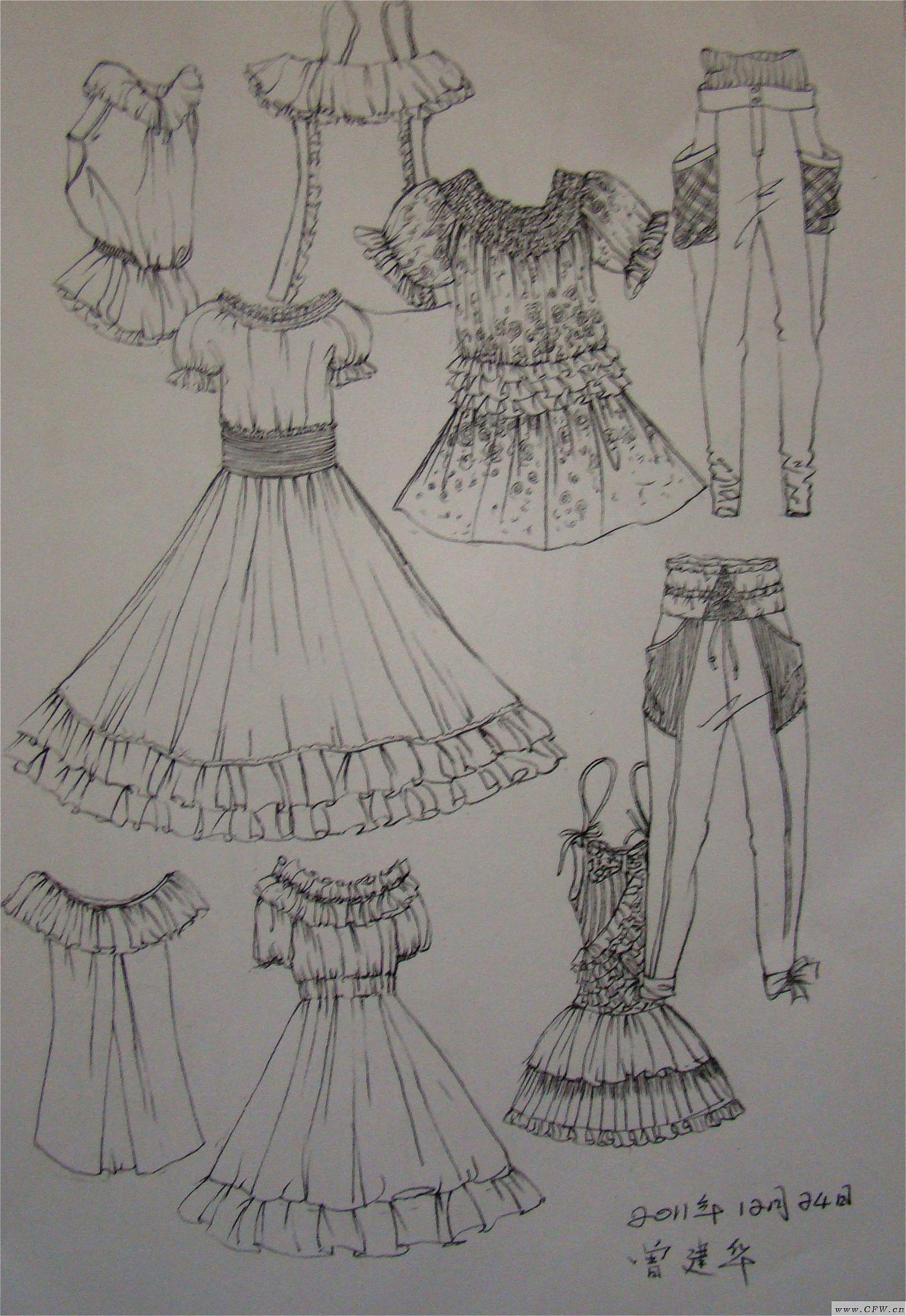 容易临摹的动漫图_衣服设计图片素描-设计裙子的手稿素描图|设计素描图片素材 ...