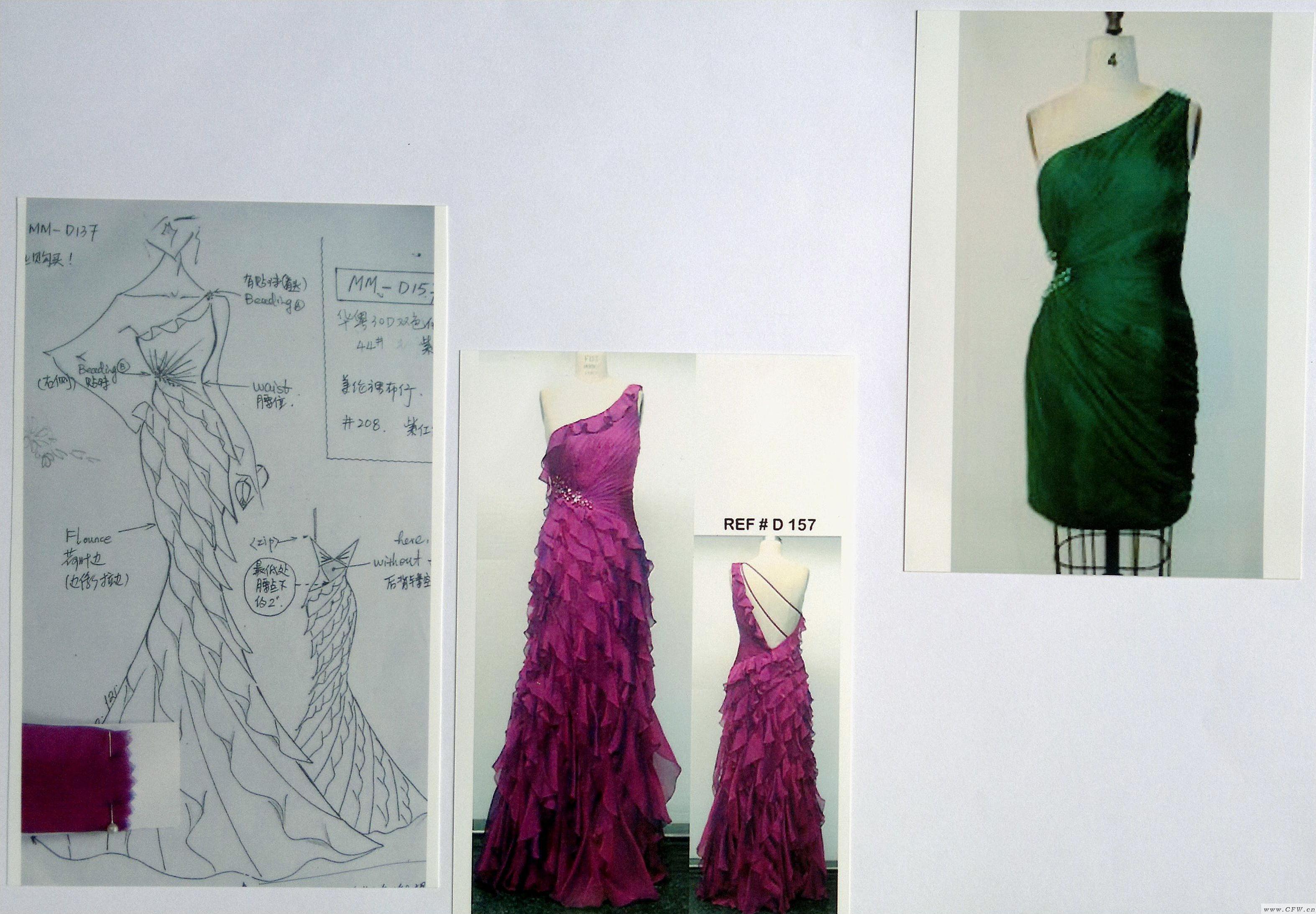 礼服设计图及完成效果(成品连衣裙)
