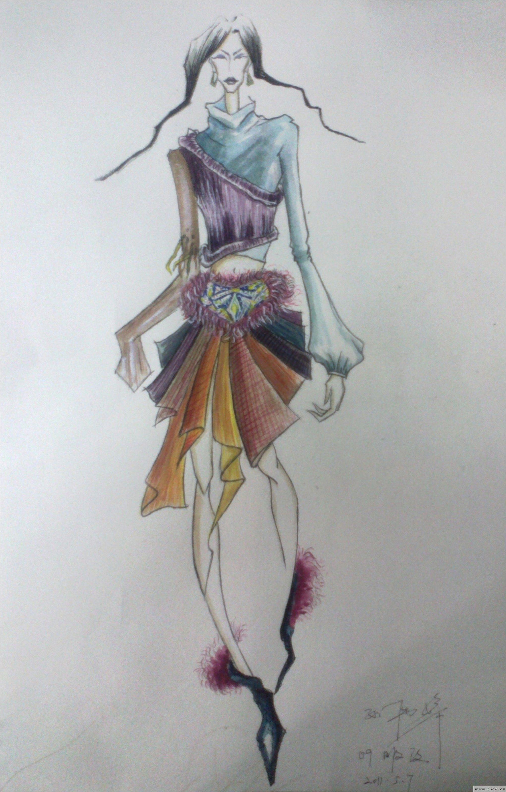 时装效果手绘图-女装设计-服装设计