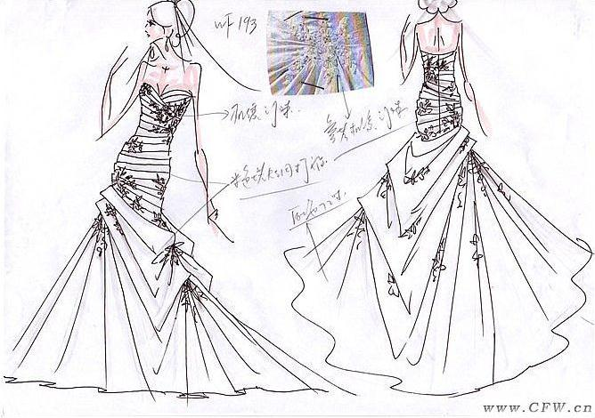 婚纱礼服设计稿作品-婚纱礼服设计稿款式图