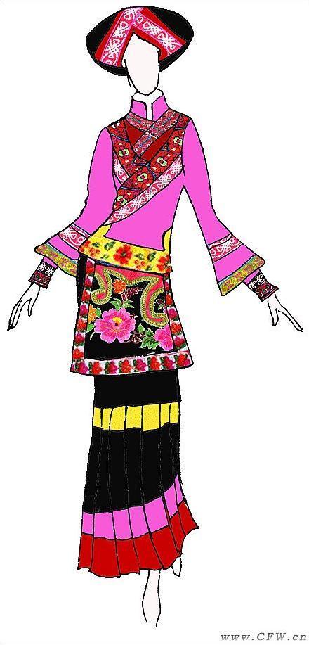 彝族服装设计作品-彝族服装设计款式图