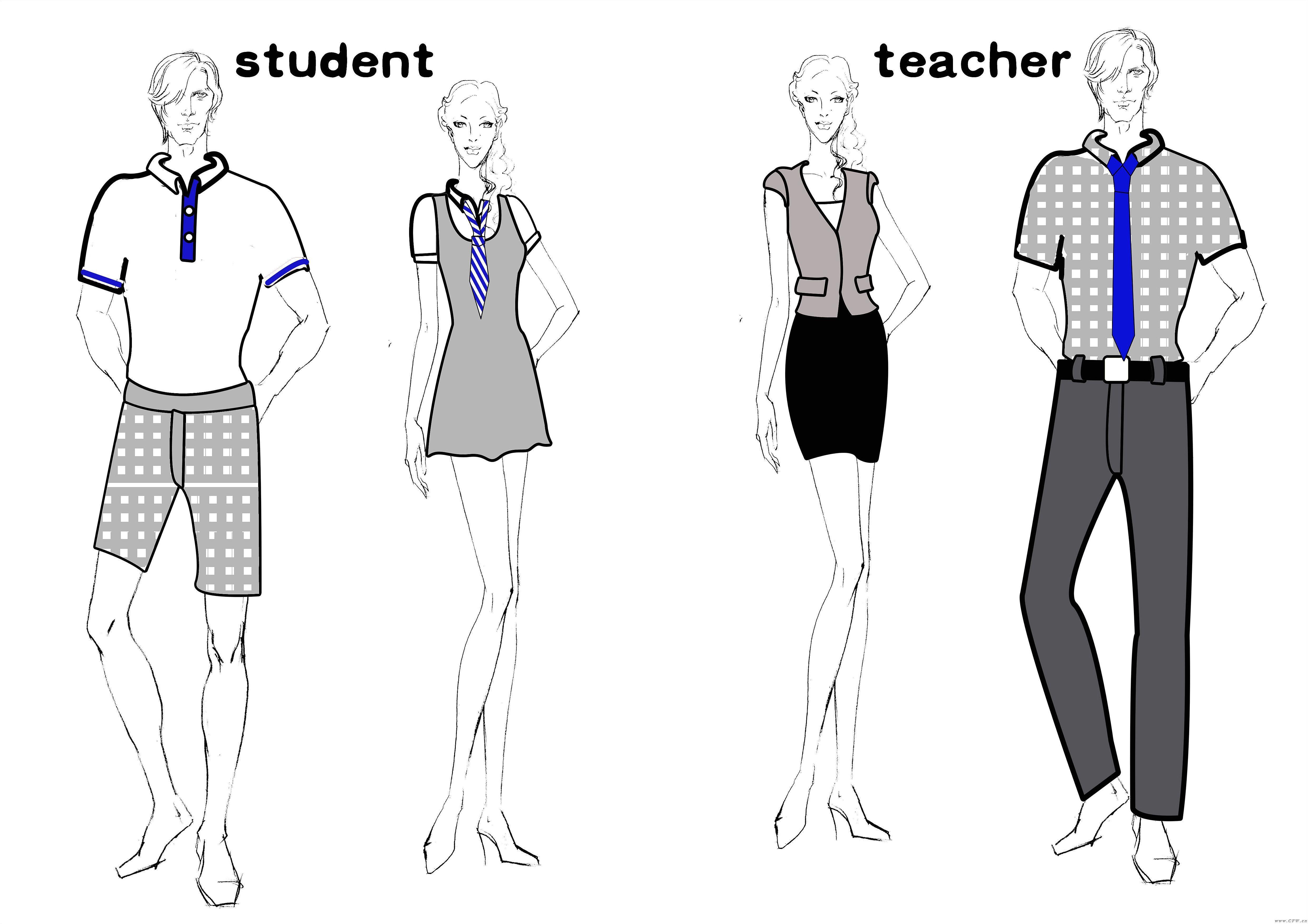 班服设计校服设计图-职业服装设计-服装设计
