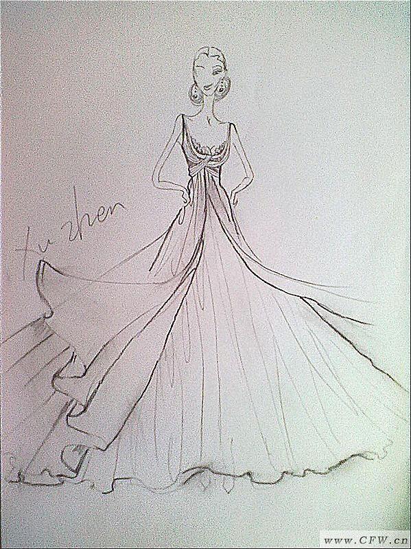我的手绘作品-婚纱礼服设计-服装设计