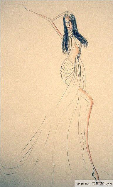 手绘时装效果图-婚纱礼服设计-服装设计