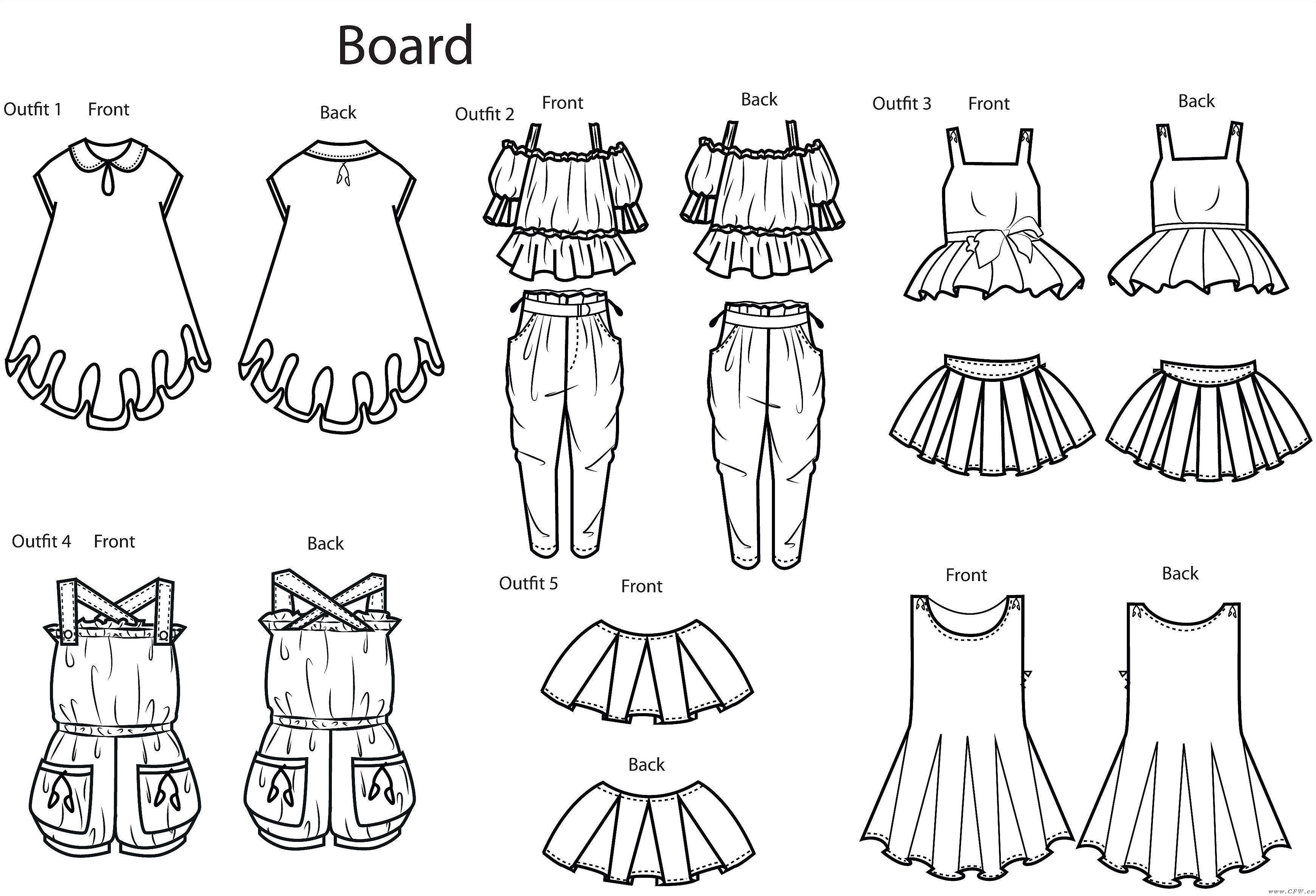 服装手绘颜色款式图