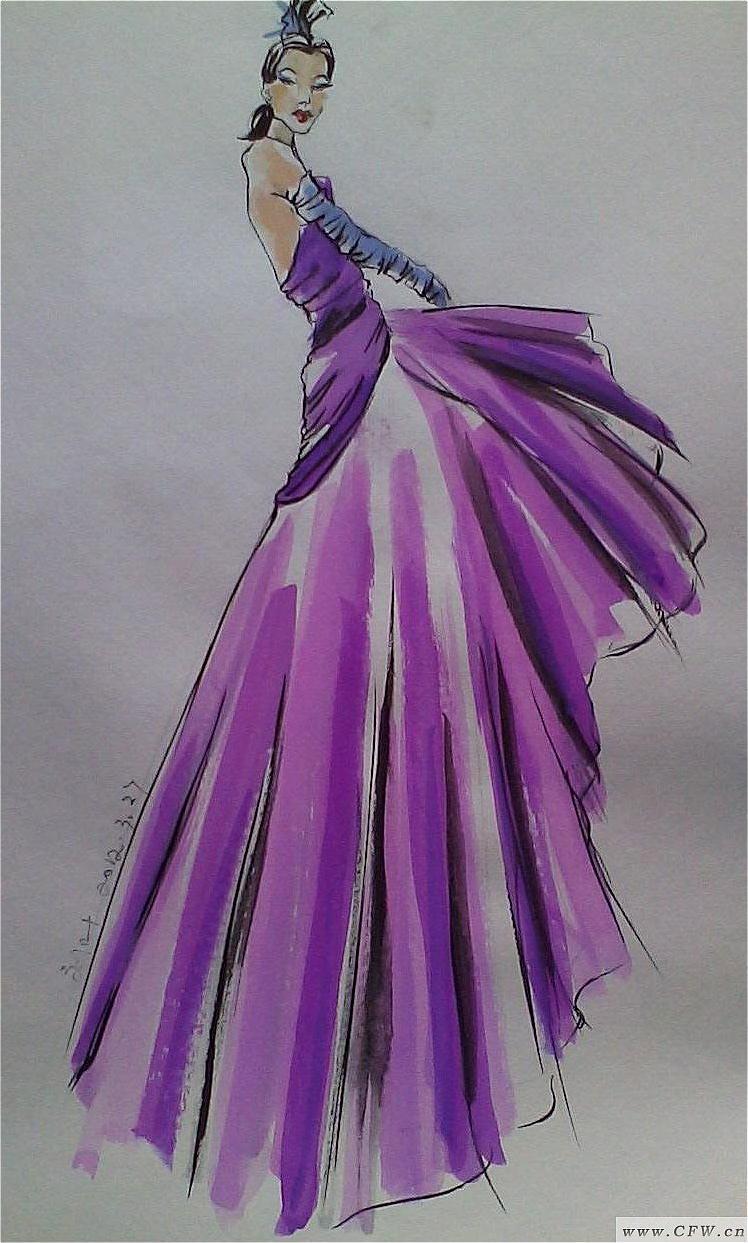 水彩手绘-婚纱礼服设计-服装设计