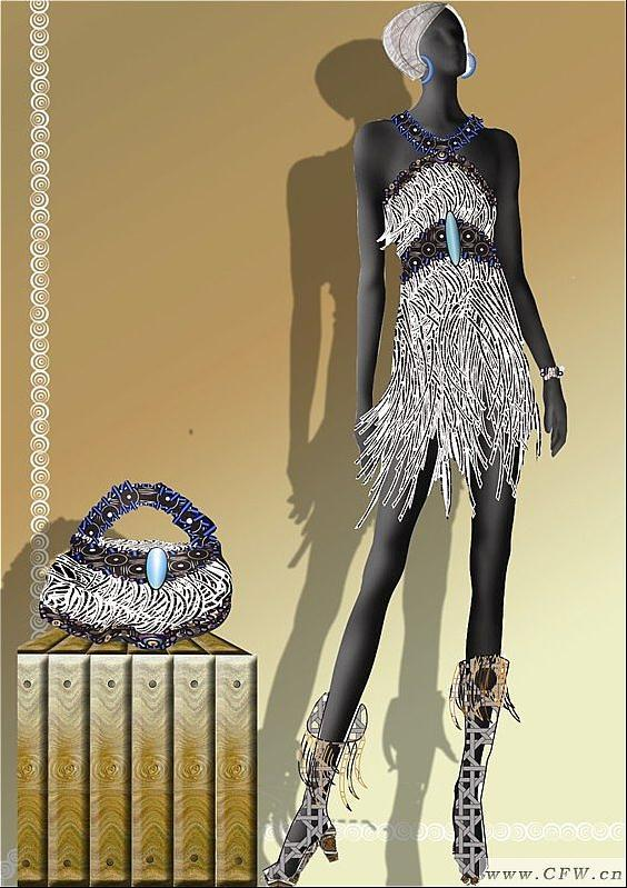 皮革流苏-女装设计-服装设计