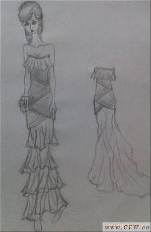 鱼尾礼服-婚纱礼服设计-服装设计-服装设计网手机版