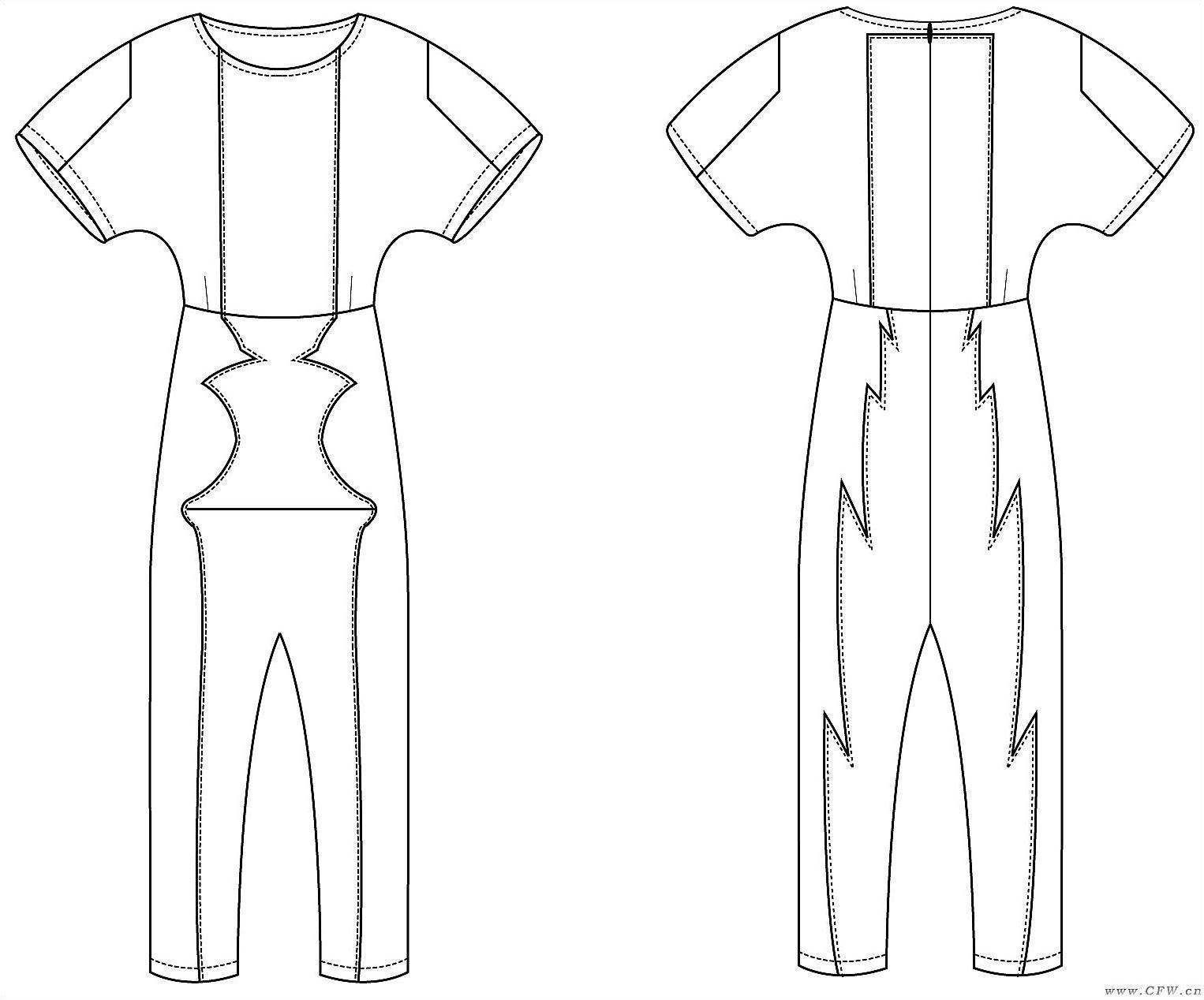 连体裤 款式图