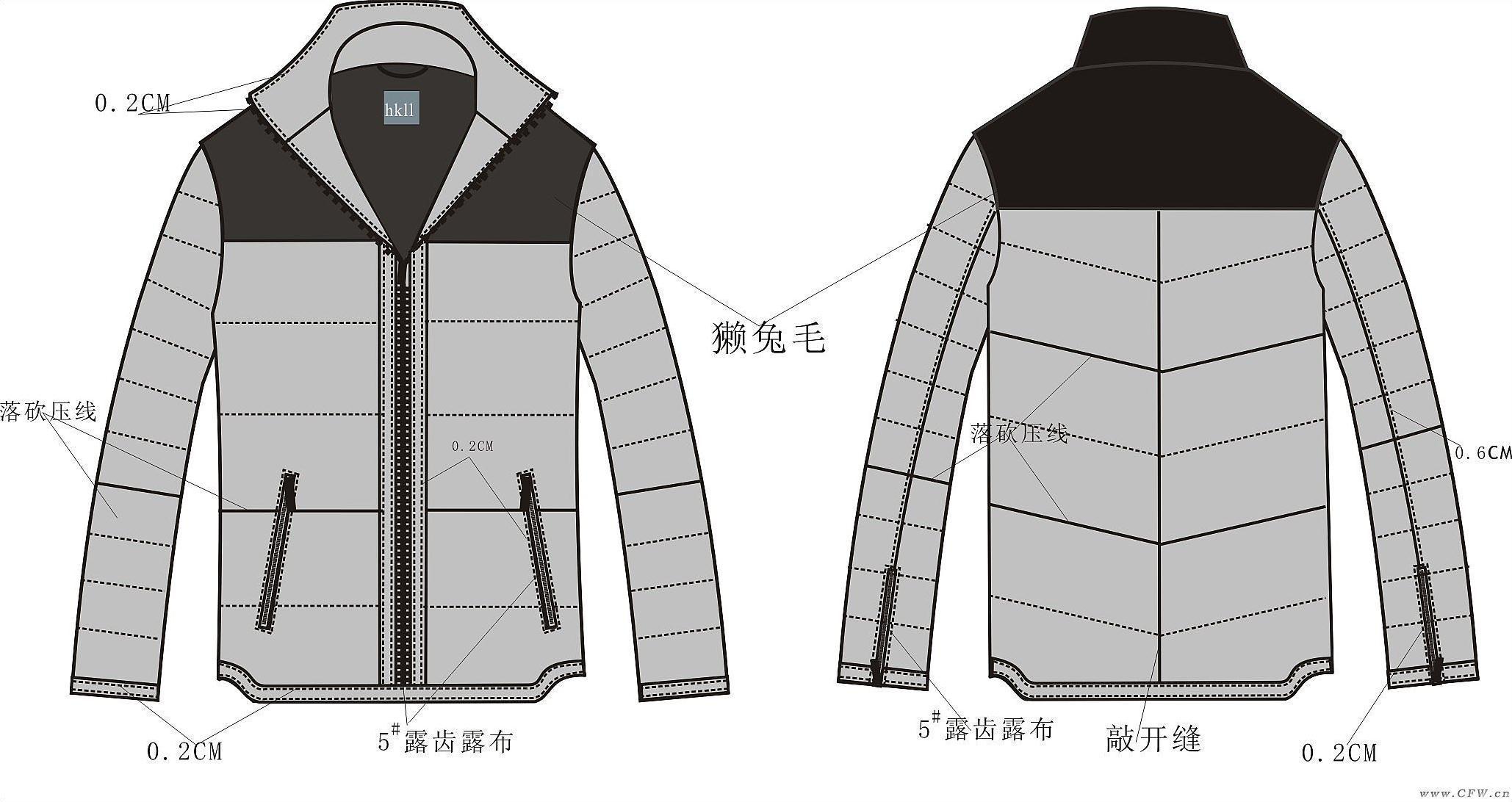 羽绒服棉衣款式图-男装设计-服装设计