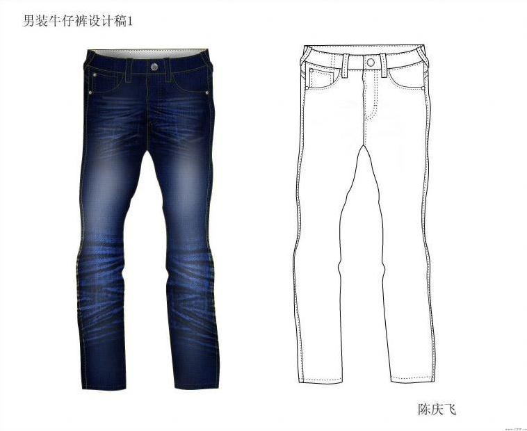 牛仔裤-男装设计-服装设计