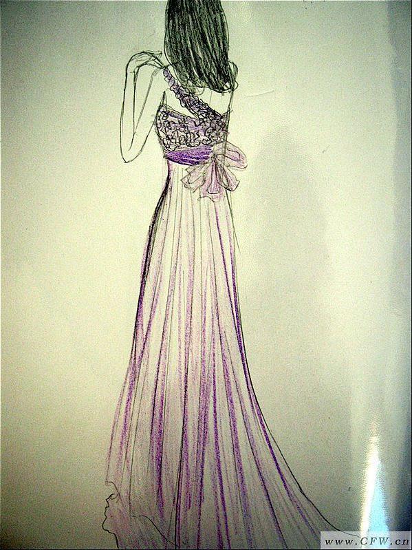 婚纱背影简笔画_背影-婚纱礼服设计-服装设计